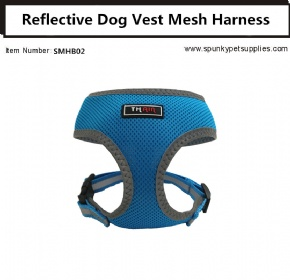 Dog Vest Mesh Harness Reflective No Pull Blue