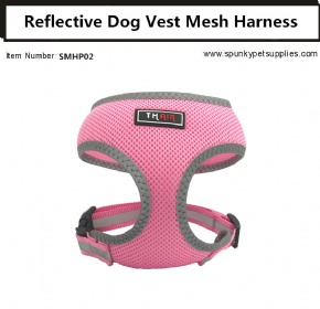 Dog Vest Mesh Harness Reflective No Pull Pink