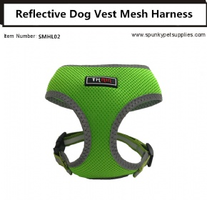 Dog Vest Mesh Harness Reflective No Pull Green
