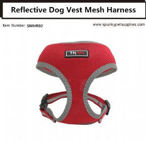 Dog Vest Mesh Harness Reflective No Pull Red