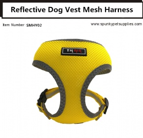 Dog Vest Mesh Harness Reflective No Pull Yellow