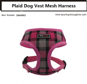 Plaid Vest Mesh Harness Pink