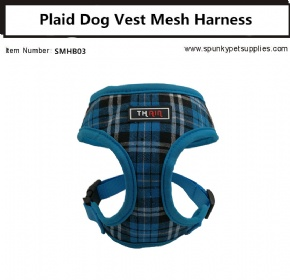 Plaid Vest Mesh Harness Blue