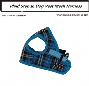 Plaid Mesh Step-in Harness Blue