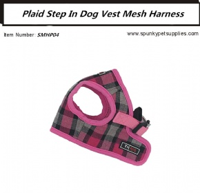 Plaid Mesh Step-in Harness Pink