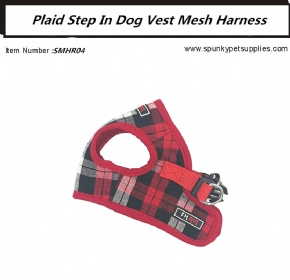 Plaid Mesh Step-in Harness Red